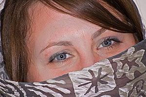 Die Nahaufnahme-blaue Augen Der Jungen Frau Mit Gray Scarf Lizenzfreies Stockbild - Bild: 8898056