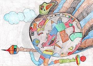 Abstracte Hand-drawn Planeet Stock Afbeelding - Afbeelding: 8899151
