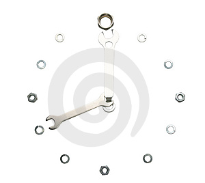 Wrenches, Nuts, Isolated, Made In A Form Of A Clock Stock Photo - Image: 897570