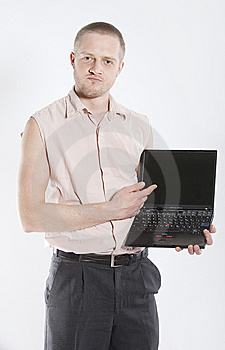 Unhappy Man With Notebook Stock Image - Image: 8901661