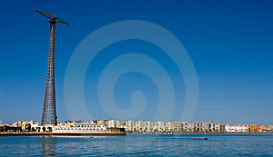 Massive Power Lines With Cadiz In Background Stock Photography - Image: 8902412