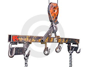 Lifting Mechanism With Hooks And Chains Royalty Free Stock Image - Image: 8905156