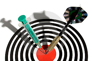 Syringe In A Dartboard Royalty Free Stock Photography - Image: 8906827