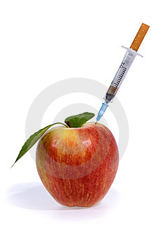 Cigarette Syringe In Aple Stock Photography - Image: 8906852