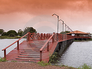 Red Wooden Bridge Royalty Free Stock Photography - Image: 8914747