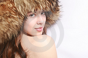 Portrait Of The Girl In A Fur Cap. Royalty Free Stock Photo - Image: 8918885