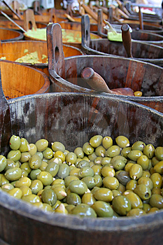 Olives In A Wooden Barrel Royalty Free Stock Image - Image: 8920546
