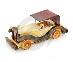 Retro Car Wooden Model Isolated Stock Photography - Image: 8923912