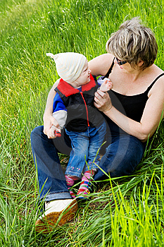 Playing With Grandmother Royalty Free Stock Images - Image: 8924699