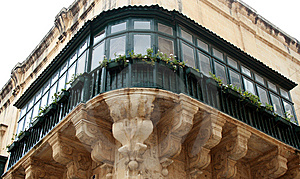 Maltese Green Balcony In Valletta Stock Images - Image: 8924804