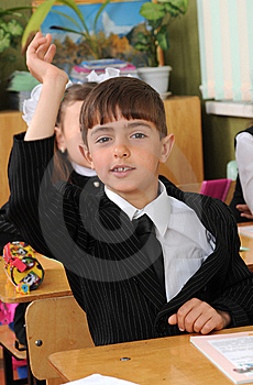 The Pupil Has Raised A Hand. Stock Photo - Image: 8925510