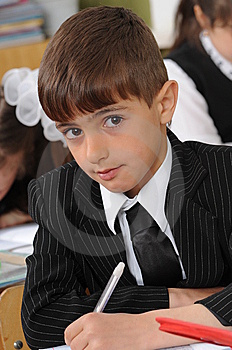 The Schoolboy At A Lesson At School. Stock Photo - Image: 8926330