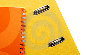 Yellow Binder And Orange Agenda Detail Stock Photos - Image: 8926633