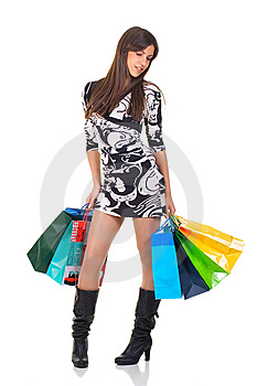 Attractive Young Woman With Shopping Bag Stock Photo - Image: 8926750
