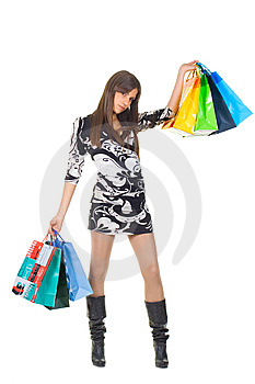 Attractive Young Woman With Shopping Bags Royalty Free Stock Image - Image: 8926776