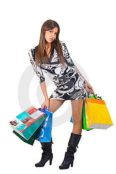 Attractive Young Woman With Shopping Bags Stock Photos - Image: 8926833