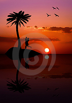 Isolated Couple On The Island At Sunset Royalty Free Stock Images - Image: 8928529