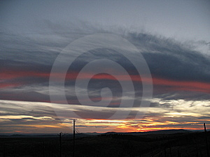 Stripe In Clouds During Sunset Stock Image - Image: 8928831
