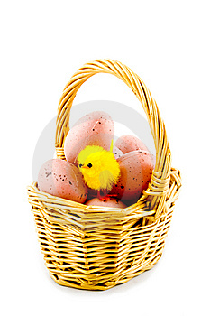 Small Basket With Eggs And A Eastern Chicken Royalty Free Stock Photo - Image: 8931935