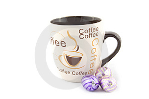 Cup With Text Coffee And Chocolate Eastern Eggs Stock Photo - Image: 8931950