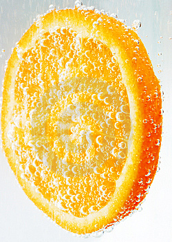 Bubbly orange slice. Stock Photography