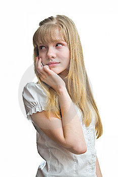 Blonde Girl Is Talking To Mobile Phone Stock Image - Image: 8932451