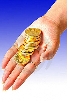 Coins On Hand Royalty Free Stock Images - Image: 8933699