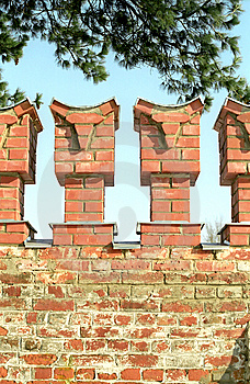 Merlons Of Red Brick Wall Royalty Free Stock Photography - Image: 8934787