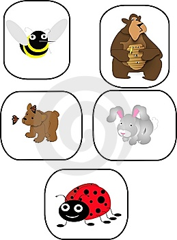 Bee, Bears, Rabbit And Ladybug Cartoon Characters Stock Image - Image: 8935311