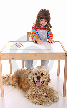 Beauty A Little Girl And Dog Stock Images - Image: 8936084