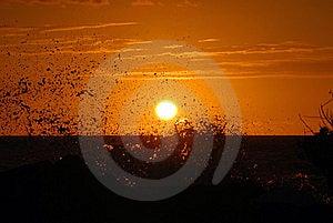 Sunset With Waves Crashing Stock Photo - Image: 8937060