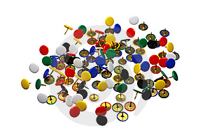Close Up Of Various Pushpins Royalty Free Stock Images - Image: 8937889