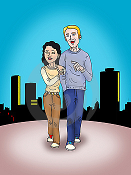 Young Couple Walking Royalty Free Stock Photography - Image: 8938897