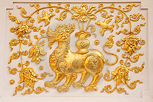 Lion In Traditional Thai Style Molding Art Stock Photography - Image: 8941542
