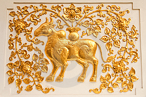 Cow In Traditional Thai Style Molding Art Royalty Free Stock Photos - Image: 8941638