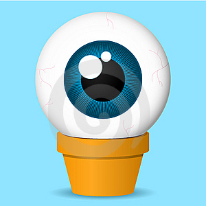 Flower Pot With Huge Eyeball Royalty Free Stock Photo - Image: 8943185