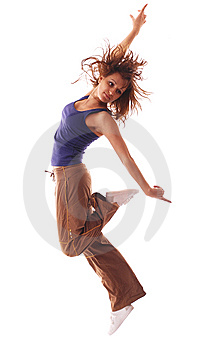 Attractive teenage dancing over white background Stock Photography