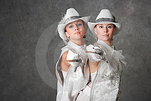 Girls In Suits Of Musketeers Royalty Free Stock Photography - Image: 8947797