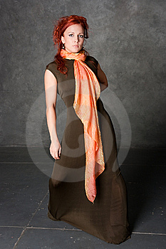 The Girl In A Long Dress With An Orange Scarf Stock Photos - Image: 8947843