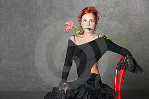 The Charming Girl With A Red Rose Stock Image - Image: 8947871