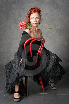 The Charming Girl With A Red Rose Royalty Free Stock Image - Image: 8947966