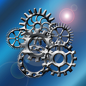 Gears In Blue With Flare Stock Photos - Image: 8948733