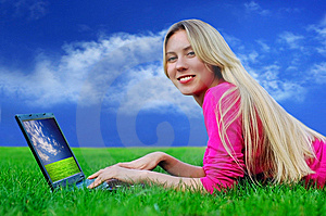 Beautiful Girl With Laptop On The Green Grass Stock Photography - Image: 8951802