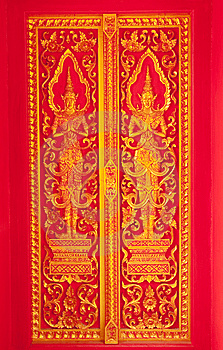Traditional Thai Art Church Door Royalty Free Stock Photography - Image: 8952087