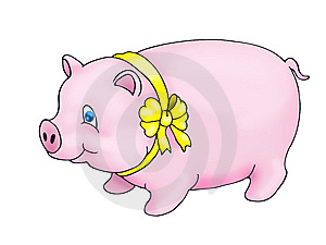 Pig Using Yellow Ribbon Royalty Free Stock Photography - Image: 8952167