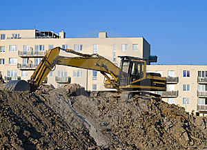 Excavator On The Construct Area Stock Photo - Image: 8954710