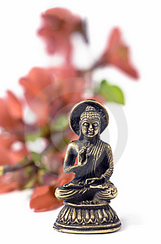Isolated Buddah With Red Flowers Royalty Free Stock Photography - Image: 8956667