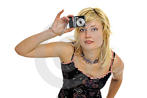 Blond Model With Camera Royalty Free Stock Photography - Image: 8957877
