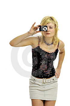 Blond Model With Camera Royalty Free Stock Image - Image: 8957886