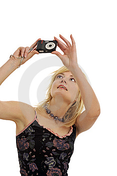 Blond Model With Camera Royalty Free Stock Photo - Image: 8957895